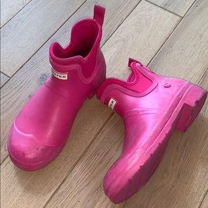 Hunter preppy hot pink low cut rubber rain boots 8